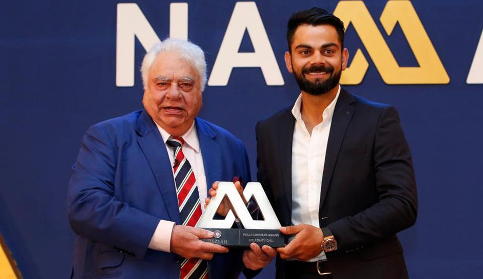 Virat Kohli won the Polly Umrigar trophy for the third time while Ravichandran Ashwin won the Dilip Sardesai award in the 2017 BCCIawards ceremony conducted in Bangalore. (BCCI)