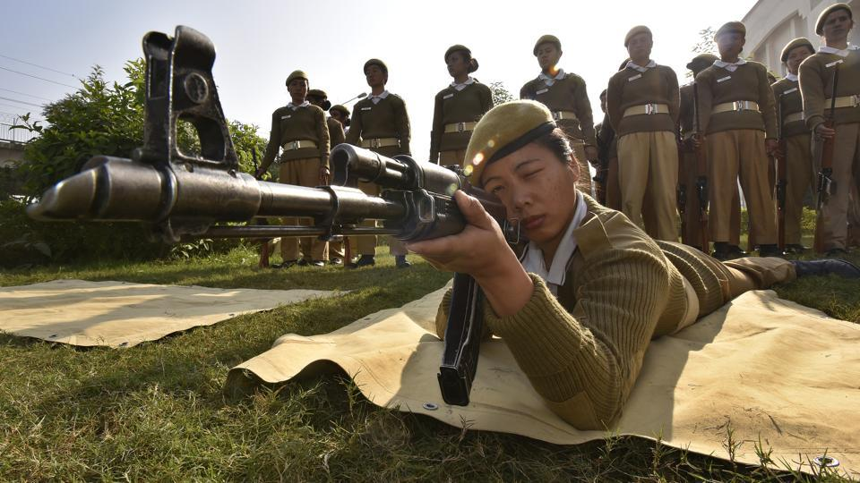 Fighting the stereotypes: After passing the  physical endurance test and weapons training at the police training college 134 women  from the Northeast  are now part of Delhi Police force.  (Raj K Raj/HT PHOTO)