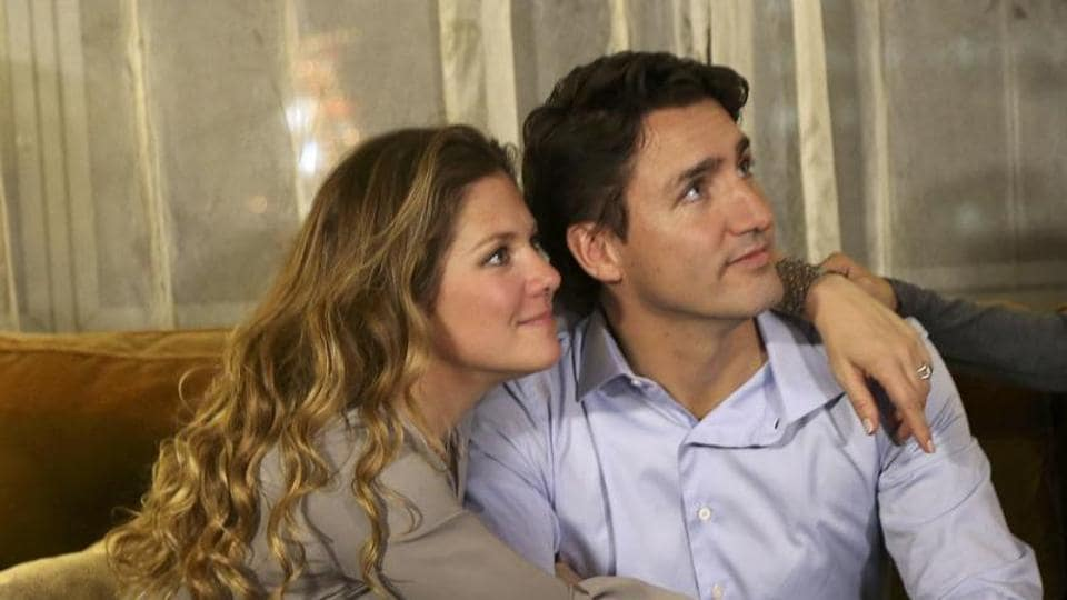Justin Trudeau with his wife Sophie Gregoire in Montreal, Quebec.