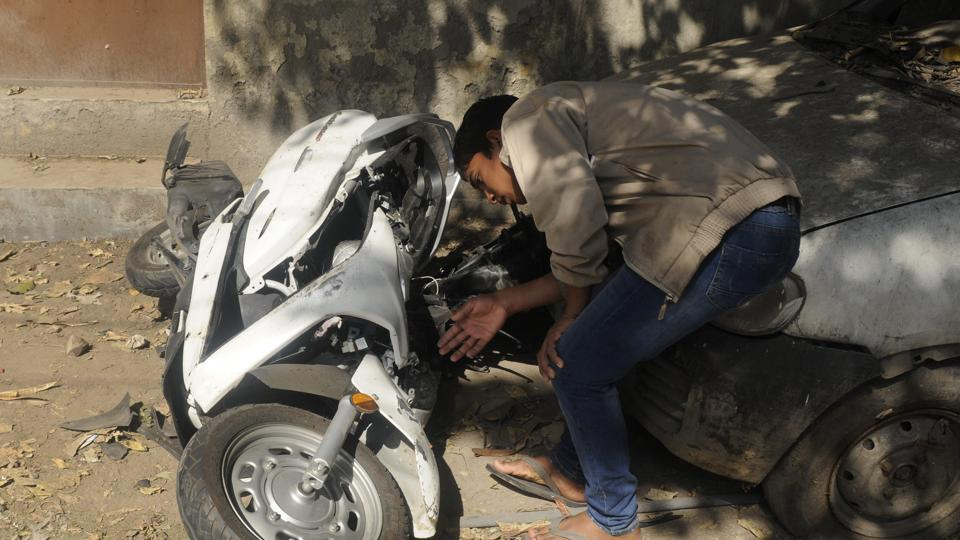 The mangled remains of the scooter after the accident which killed 17-year-old Atul Arora in the Paschim Vihar area of Delhi on Sunday.
