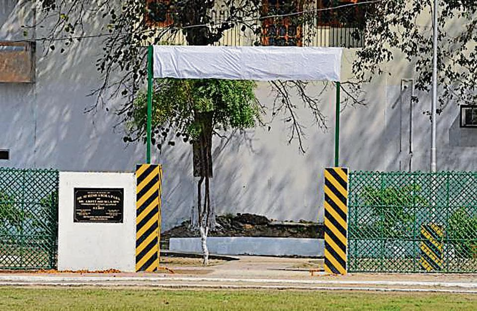 The covered name of the park that had Punjab DGP Suresh Arora's name on it in Jalandhar on Wednesday.