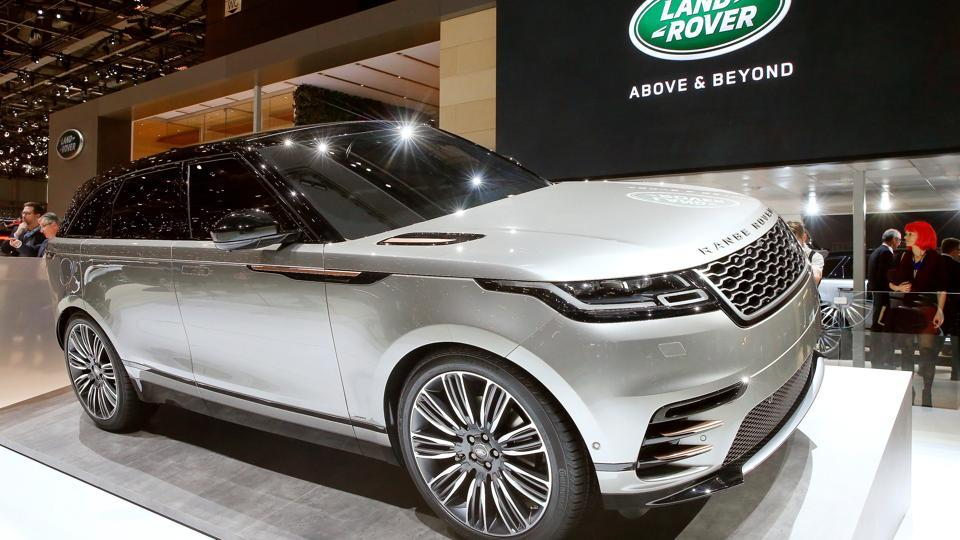 A Land Rover Velar car is seen during the International Motor Show at Palexpo in Geneva, Switzerland, on March 7, 2017.
