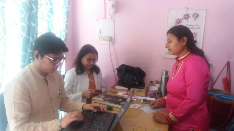 Dr Sunita Pawar being questioned by a team of health officials inGurgaon on Wednesday.