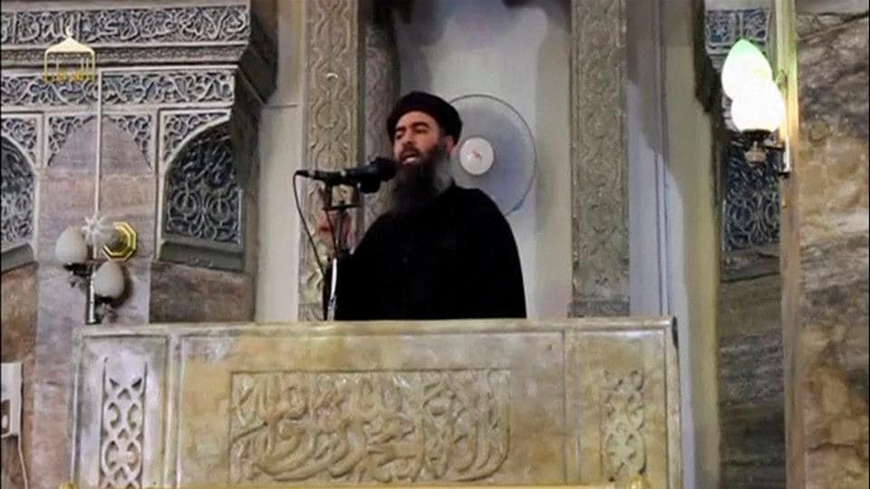File photo of the reclusive Islamic State leader, Abu Bakr al-Baghdadi, making what would have been his first public appearance at a mosque in the centre of Iraq's second city, Mosul, on July 5, 2014.