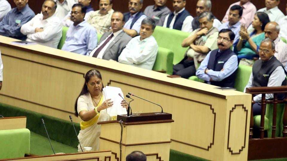 Chief minister Vasundhara Raje presents the budget at the state assembly in Jaipur on Wednesday. (Himanshu Vyas\ HT Photo)
