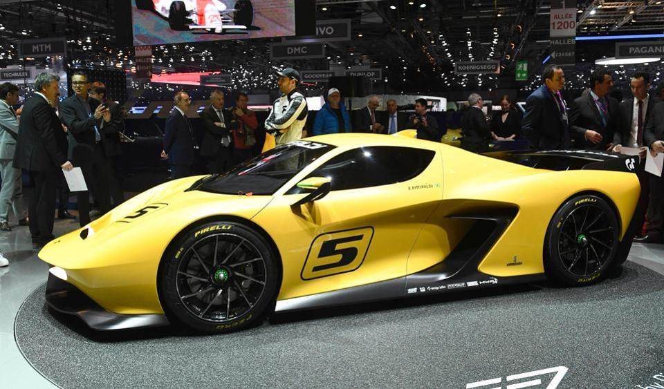 An Emerson Fittipaldi EF7 displayed on the first press day of the the Geneva International Motor Show in Geneva. Europe's biggest annual car show kicks off in Geneva with luxury and crossover vehicles under the limelight.