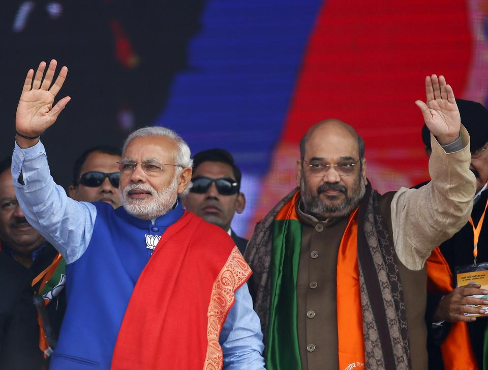 Prime Minister Narendra Modi and Amit Shah at Ramlila ground in New Delhi.