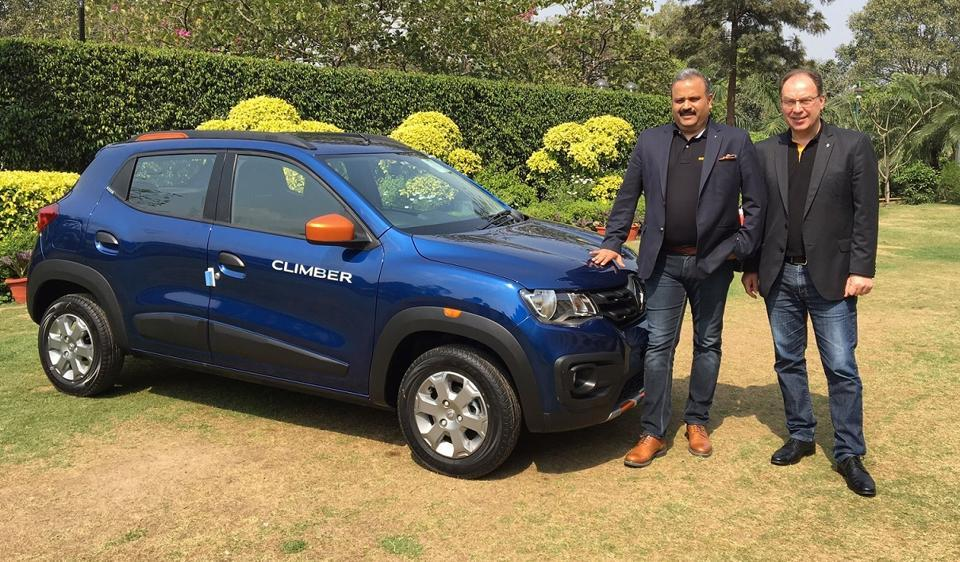 Sumit Sawhney, Renault India operations MD and CEO, with Rafael Treguer, VP (Sales and marketing) with the Kwid Climber.