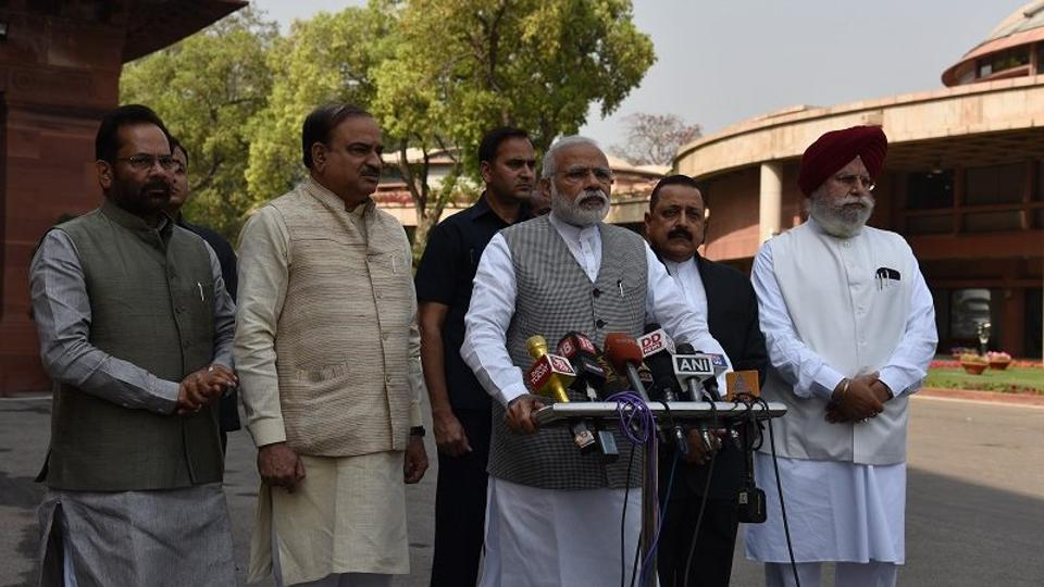 Prime Minister Narendra Modi makes an address outside Parliament ahead of the second half of the budget session.