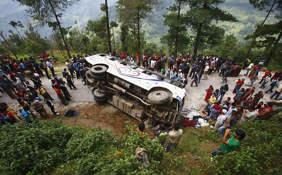 Accidents involving buses are common in Nepal, with a majority of the incidents blamed on difficult terrain, untrained drivers and old vehicles.