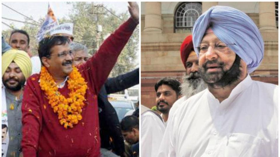 The Aam Aadmi Party's Arvind Kejriwal and Congress' chief ministerial candidate Capt Amarinder Singh. Exit polls show the two paries running neck and neck in the state's assembly election.