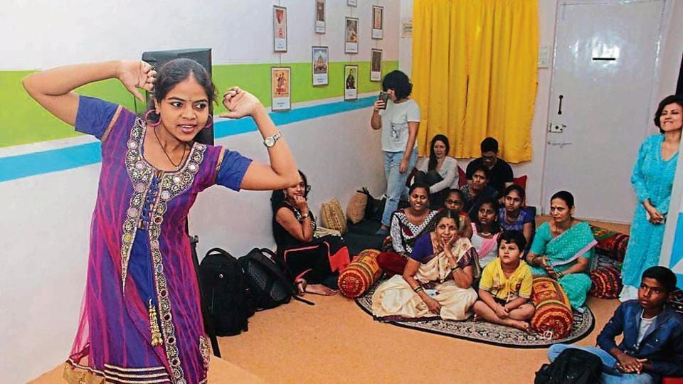 Children of domestic help perform at a studio in Goregaon on Wednesday.