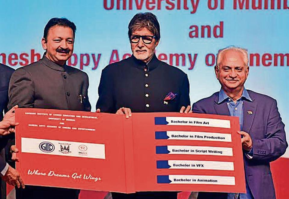 (From left) MU vice-chancellor Sanjay Deshmukh, actor Amitabh Bachchan and director Ramesh Sippy launch the courses on the university's Kalina campus on Thursday.