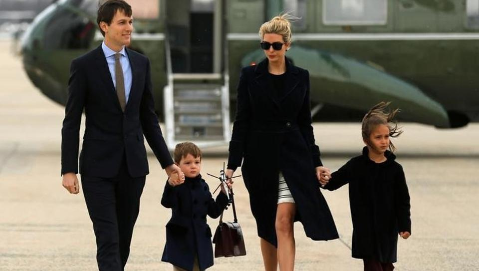 Ivanka Trump and her family arrive aboard the Marine One helicopter with the president to board Air Force One at Joint Base Andrews, Maryland.