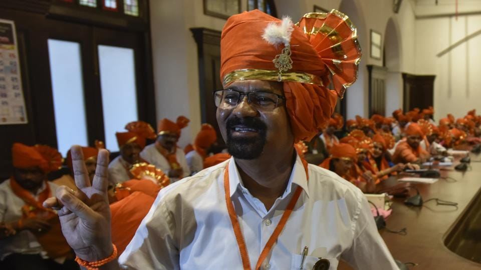 Mumbai's new mayor Vishwanath Mahadeshwar at BMC headquaters on Wednesday.