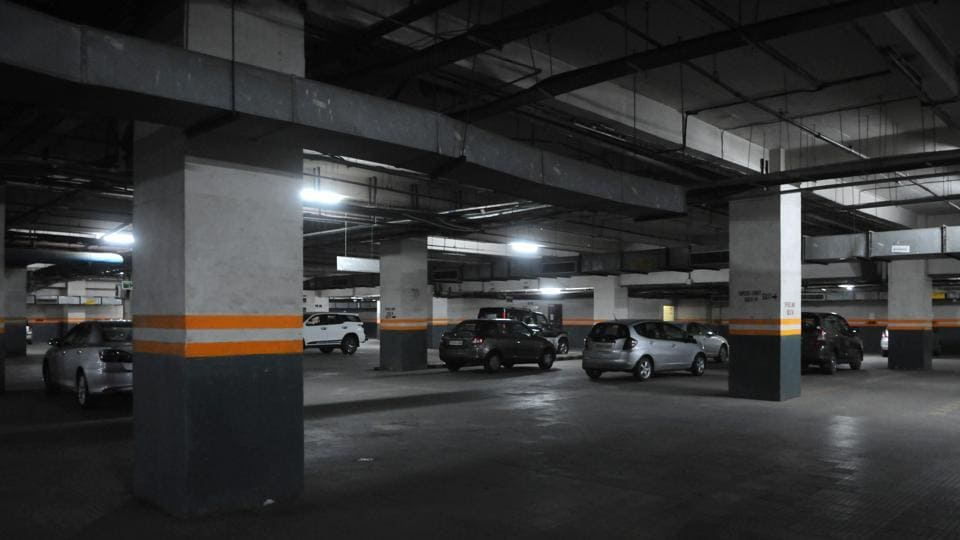 Basement parking in a commercial building in Sector 30.
