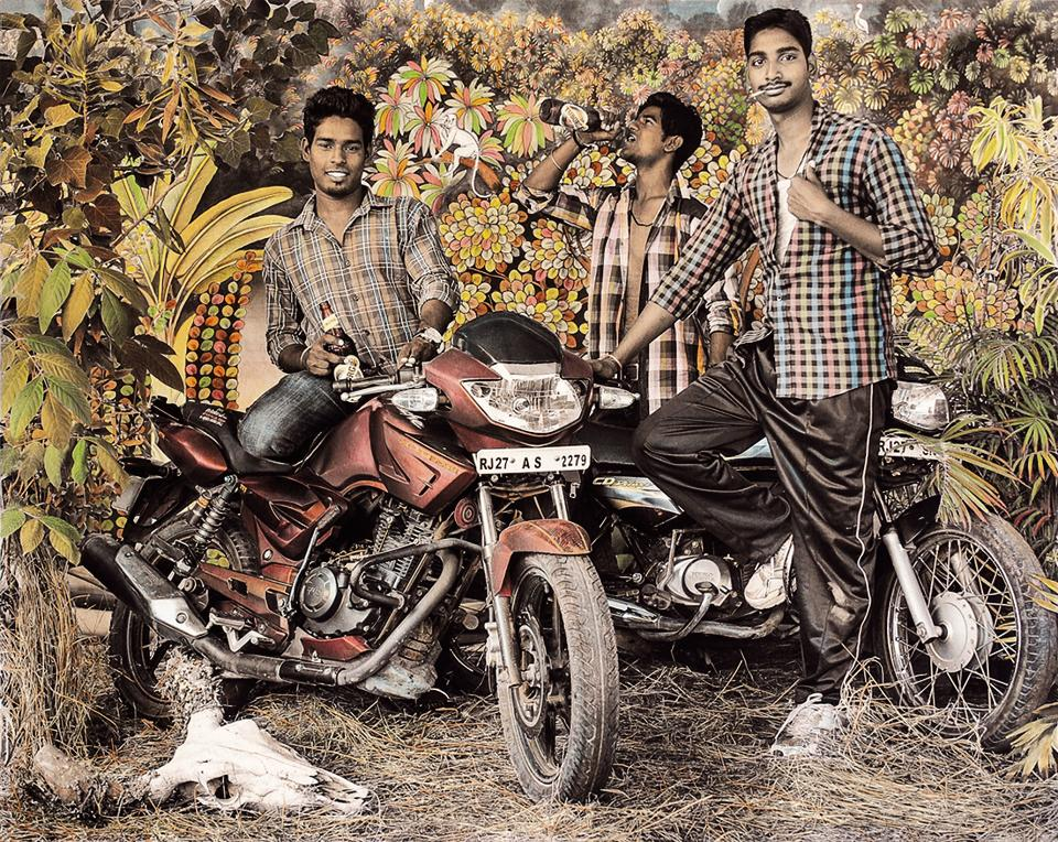 Waswo X Waswo's black-and-white shots are hand-coloured by artist Rajesh Soni.