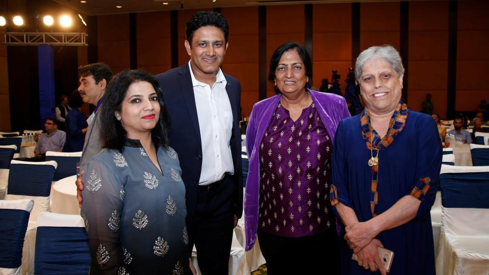 Anil Kumble, India coach, during the BCCI annual awards with BCCI's COAmember Diana Edulji (right).