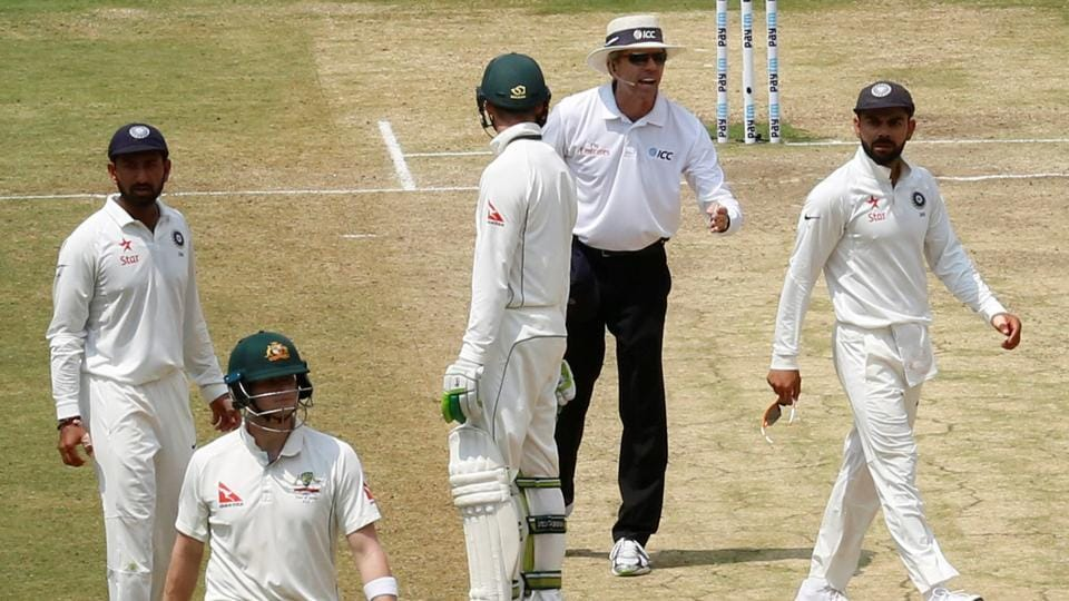 Virat Kohli (R) and Steve Smith (2nd L) were involved in a major row over a DRS call during India vs Australia second Test.