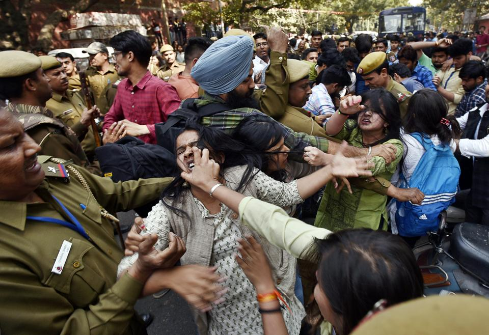 Delhi College of Arts and Commerce (DCAC) students alleged that they were not allowed to publish the journal as the article was critical of the ABVP's role in the Ramjas violence on February 22.