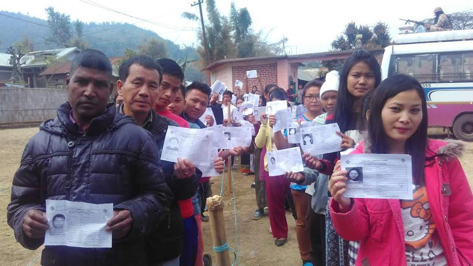 Voters at a polling station in Tengnoupal constituency in Manipur's Chandel district that went to the polls on Wednesday.