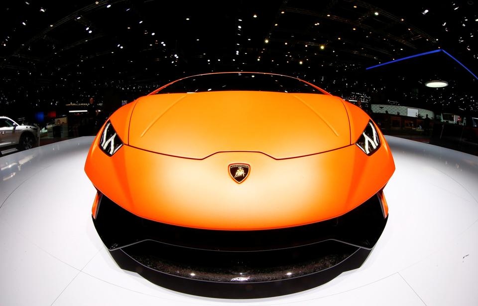 A Lamborghini Huracan Performante car is seen during the 87th International Motor Show at Palexpo in Geneva, Switzerland, on Wednesday.