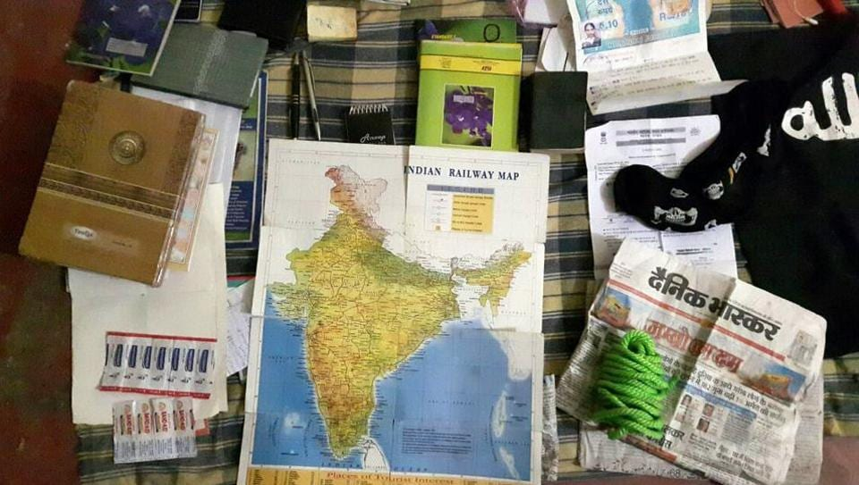 Many  items including a railway map of India and an Islamic State flag were recovered from the encounter site in Lucknow.
