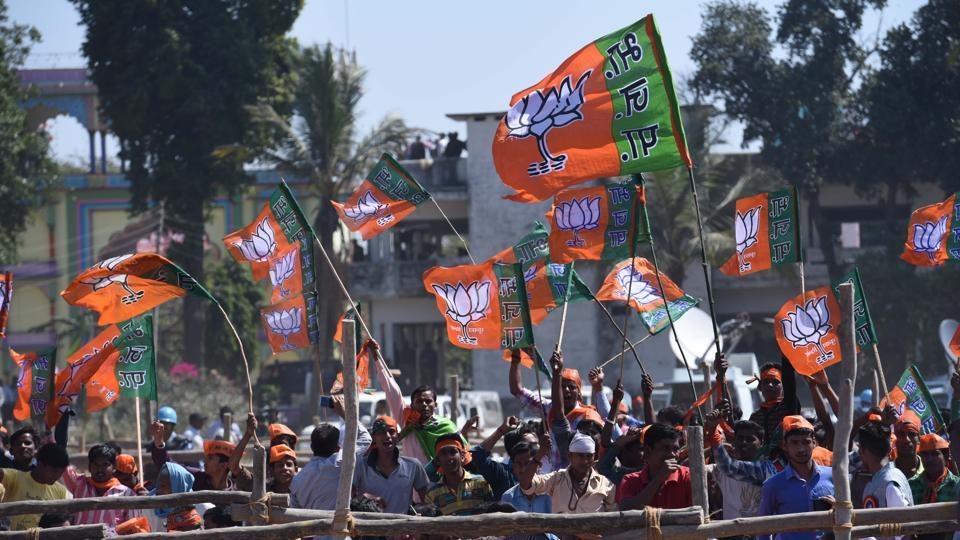 BJPsupporters at an election rally by Prime Minister Narendra Modi at Garhwaghat Ashram in Varanasi.