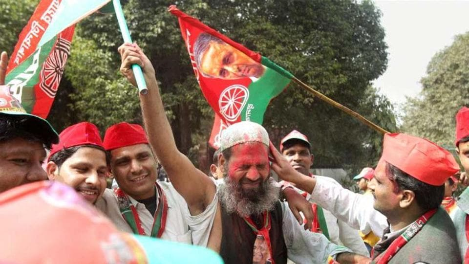 Samajwadi Party workers celebrate the success of their party in the UP assembly elections in 2012.