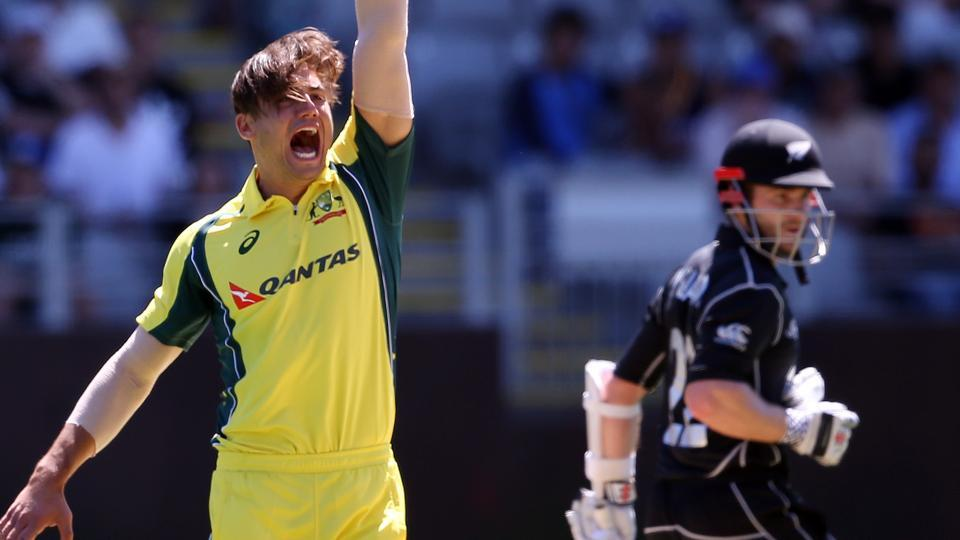 Marcus Stoinis celebrates the wicket of Kane Williamson (right) during the ODI match between New Zealand and Australia at Eden Park in Auckland on January 30, 2017. Stoinis is replacing injured Mitchell Marsh in the ongoing India vs Australia Test series