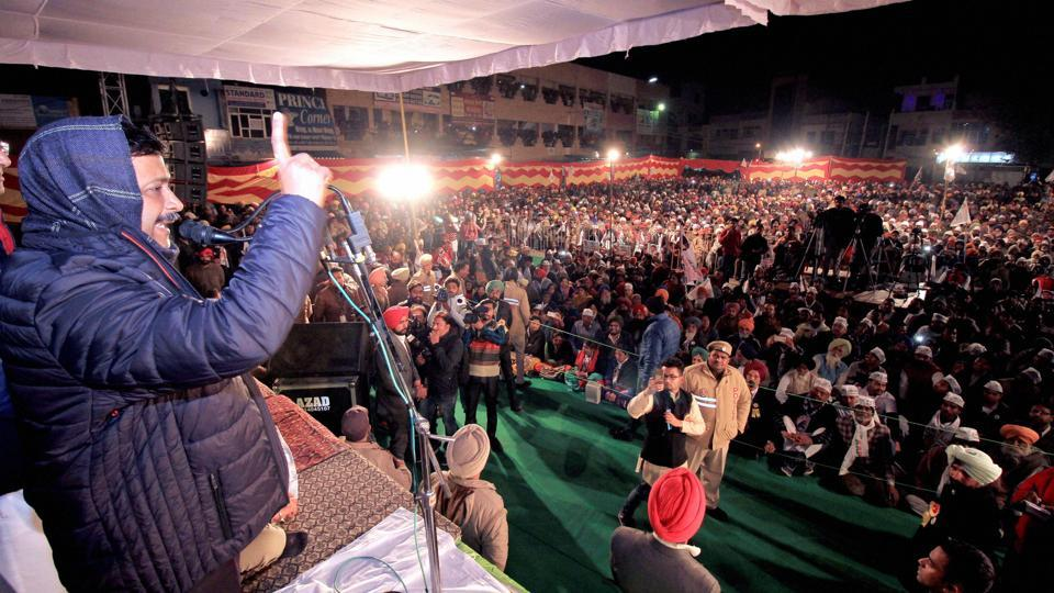 Delhi CM Arvind Kejriwal addresses an election rally in Bathinda on 28th January 2017. (PTI)