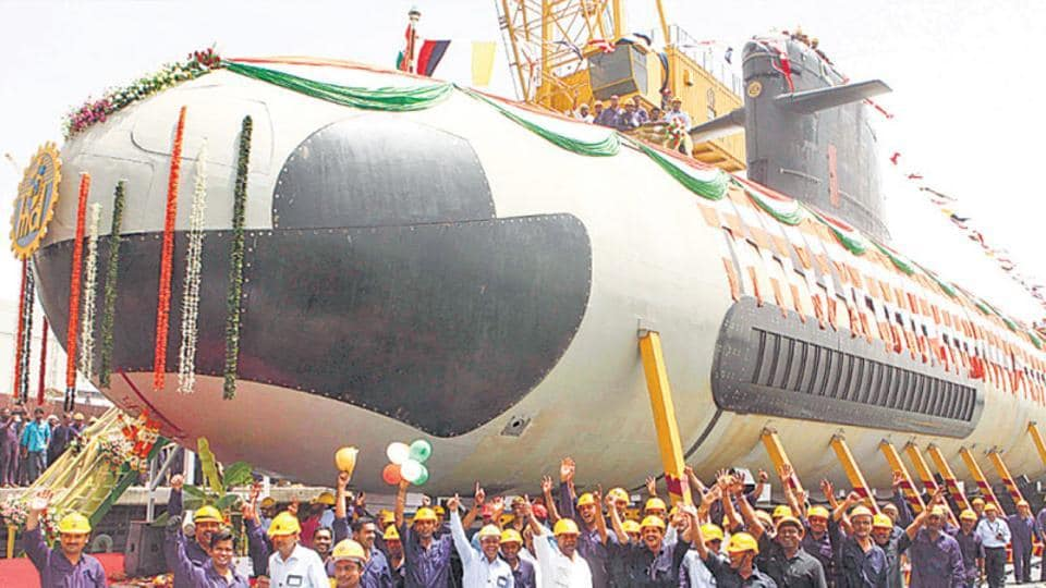 The floating out ceremony of the first Scorpene-class submarine, Kalvari, in Mumbai.