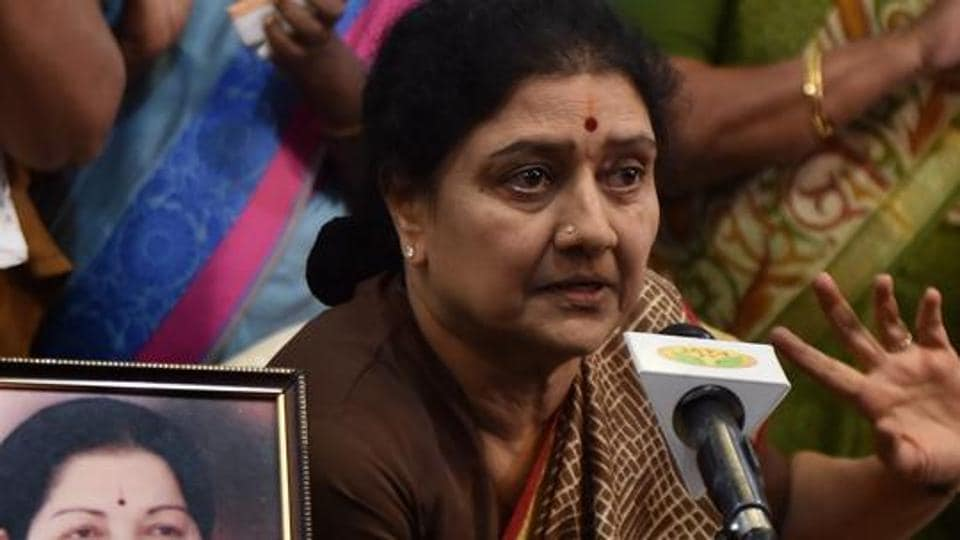 AIADMK general secretary VK Sasikala at a press meet in  Chennai in February 2017. The Supreme Court held Sasikala guilty in a Rs 65 crore disproportionate assets case, sending her to complete her jail term in Karnataka.
