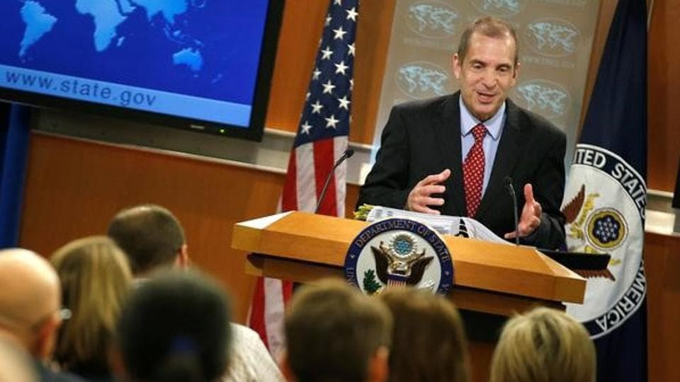 Acting State Department spokesperson Mark Toner speaks during a news briefing at the State Department in Washington.