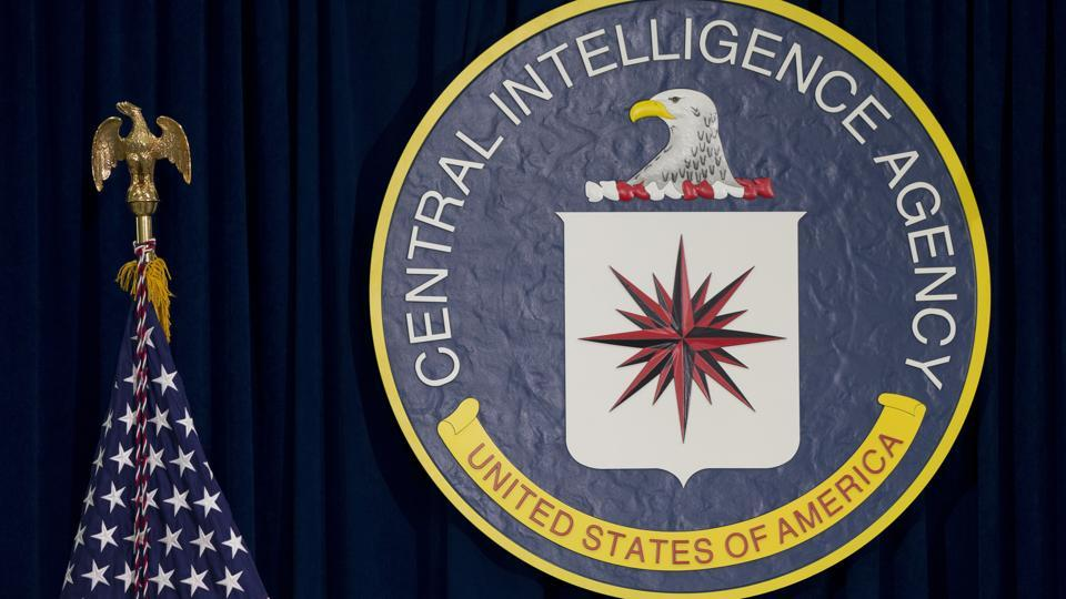 The seal of the Central Intelligence Agency at CIA headquarters in Langley.