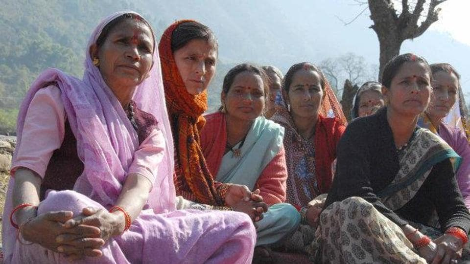 Women farmers in Jukanoli village, in the hill district of Almora, Uttarakhand. The state's hill districts are still struggling with low per capita income, bad access, poor healthcare facilities, unemployment, decline in agricultural output and neglect.