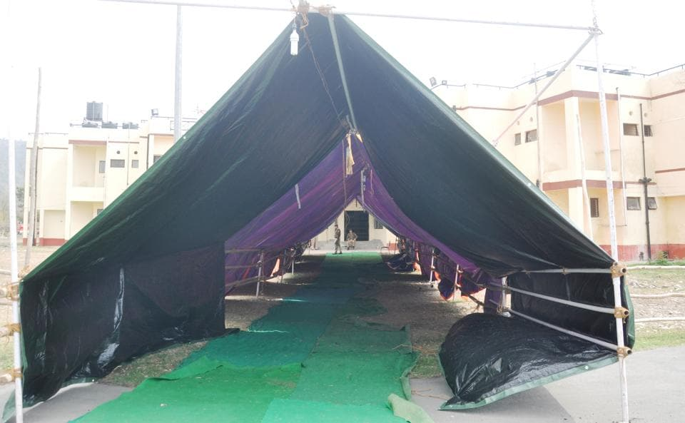The route to counting centre is covered with waterproof tent at Maharana Pratap Sports College in Dehradun