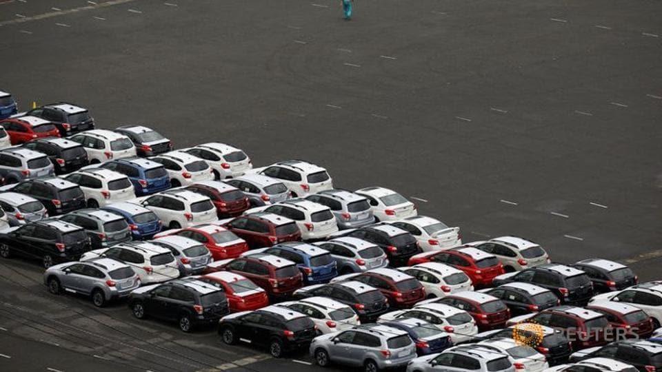 Newly produced cars at Keihin industrial zone in Kawasaki, Japan