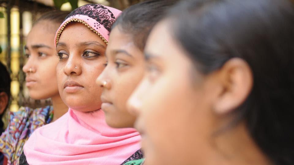 On International Women's Day, President Pranab Mukherjee awarded 'Nari Shakti Puraskar' to 21 year old Anoyara Khatun (2nd from Left) for her role in fighting against child trafficking with her friends at an NGO office in Kolkata.