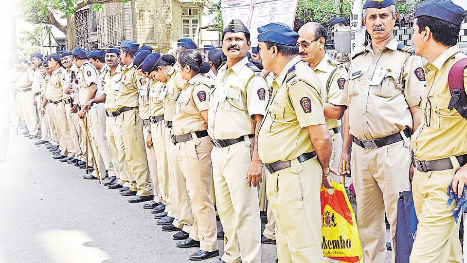 Mumbai, India - Feb. 20, 2017:Mumbai Police outside Polling EVM Machine Distribution Center at Jain Society Sion in Mumbai, India, on Monday, February 20, 2017. (Photo by Vijayanand Gupta/ Hindustan Times)