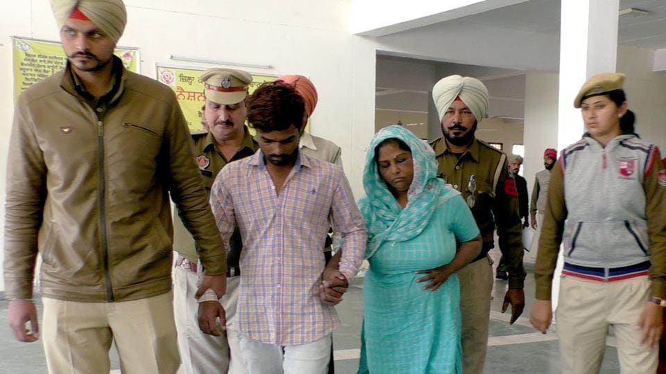 The accused Nirmal Kaur and Kulwinder Singh being produced to the court in Talwandi Sabo on Friday.