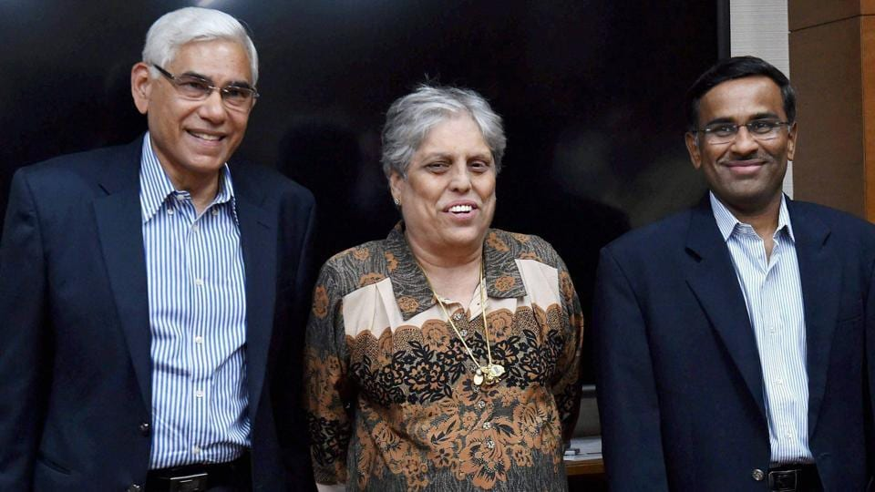 Members of the Supreme Court-appointed three-member Committee of Administrators (COA). (From left) Former CAG of India Vinod Rai, ex-India cricketer Diana Edulji and IDFC managing director Vikram Limaye.