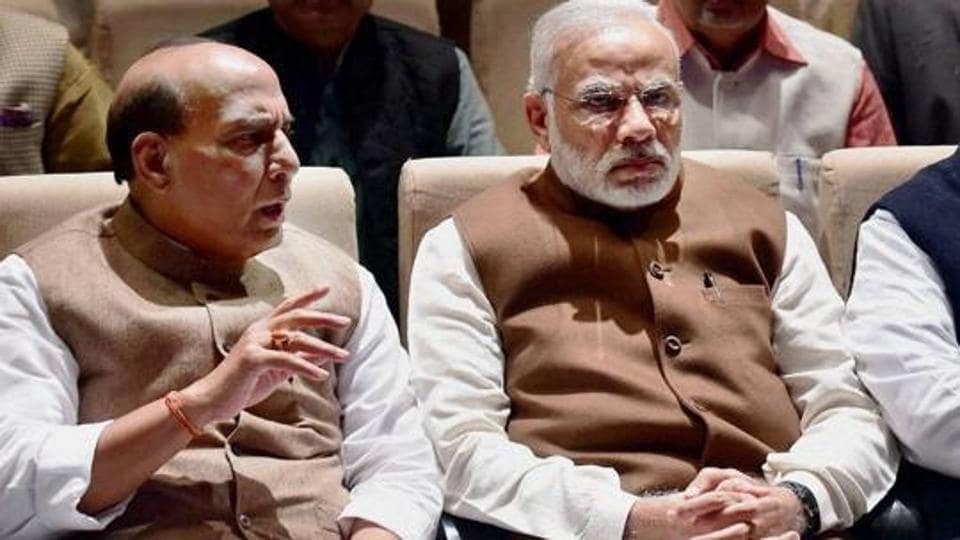 Prime Minister Narendra Modi and home minister Rajnath Singh during a BJP parliamentary party meeting in New Delhi.