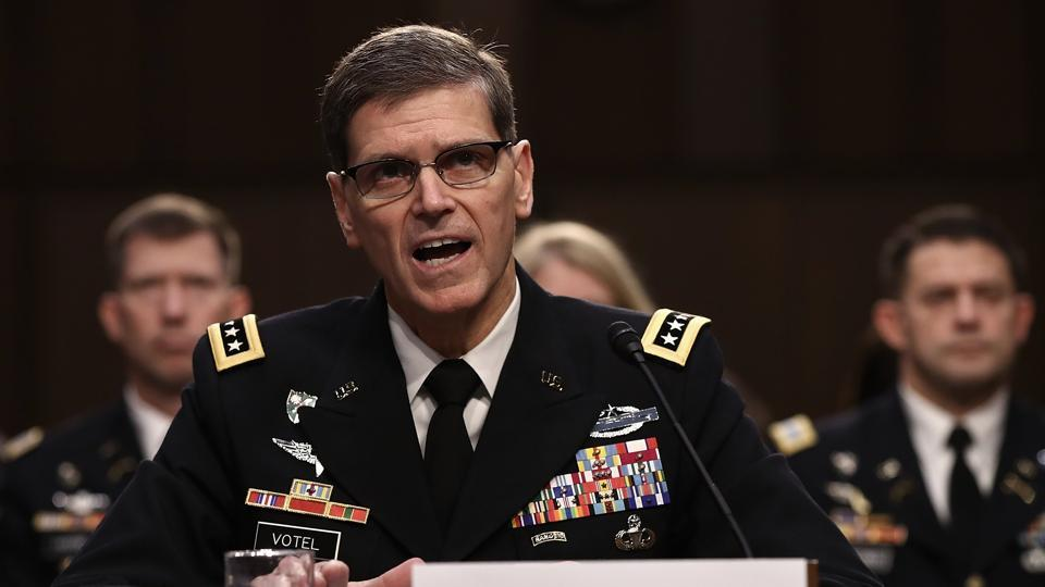 US Central Command commander Army Gen Joseph Votel testfies before the Senate Armed Services Committee on current operations in Afghanistan and Syria.