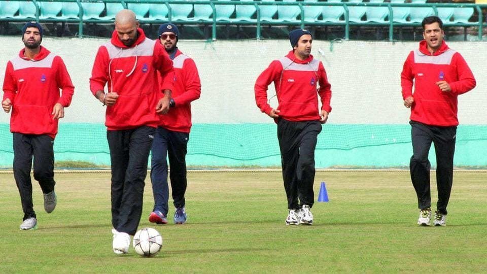 The Delhi state cricket team at a practice session at HPCA stadium in Dharamsala. All is not well in a team has Indian stalwarts like Gautam Gambhir and Shikhar Dhawan