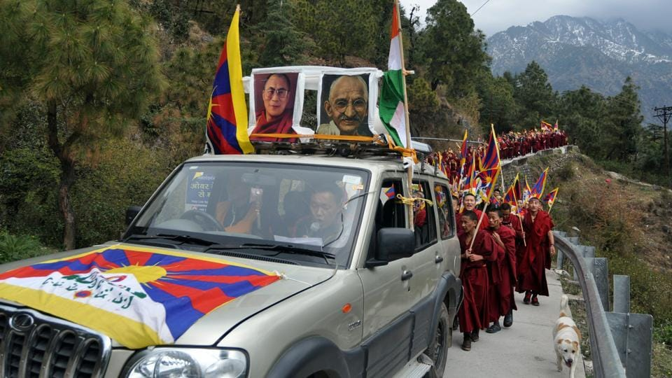 Tibetans held a protest march to commemorate the 58th Tibetan National Uprising Day at McLeodganj near Dharamsala on Friday.