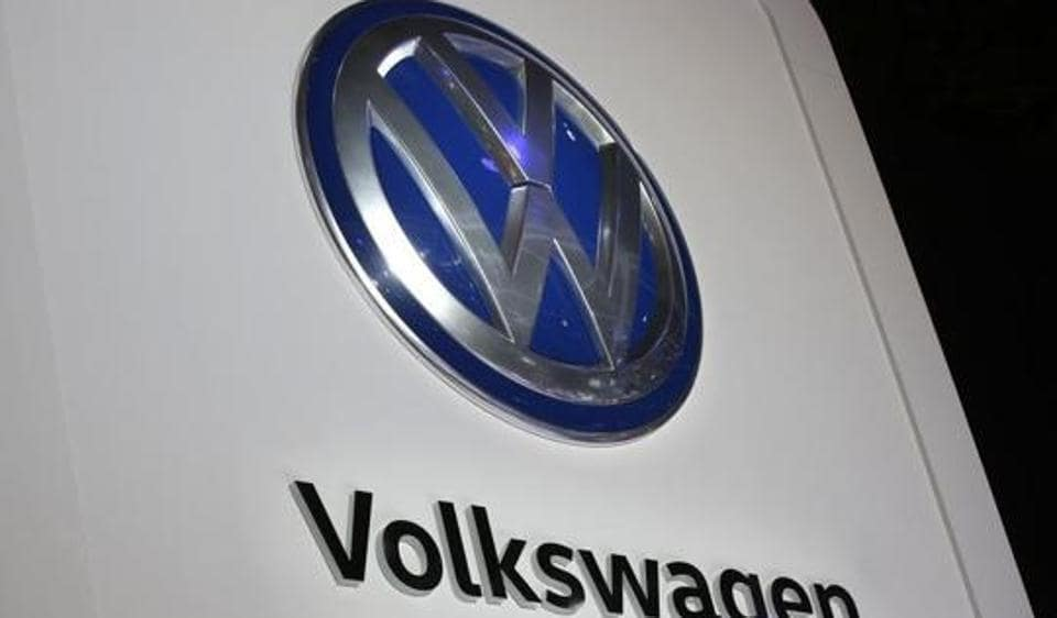 The Volkswagen logo is seen at the company's display during the North American International Auto Show in Detroit.