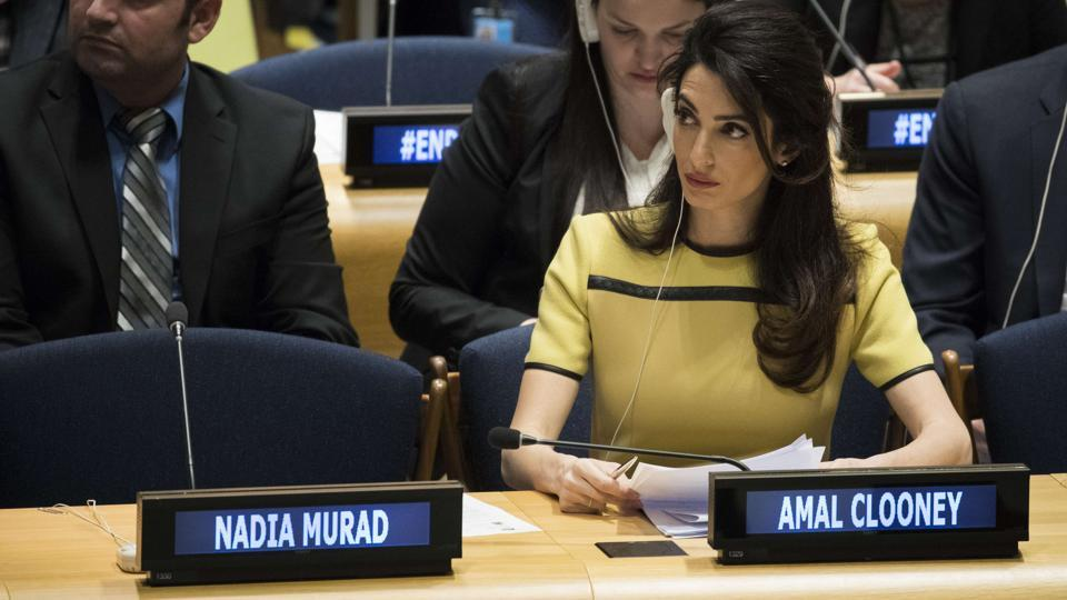 Amal Clooney attends an event titled 'The Fight against Impunity for Atrocities: Bringing Da'esh to Justice' at the United Nations headquarters in New York City.