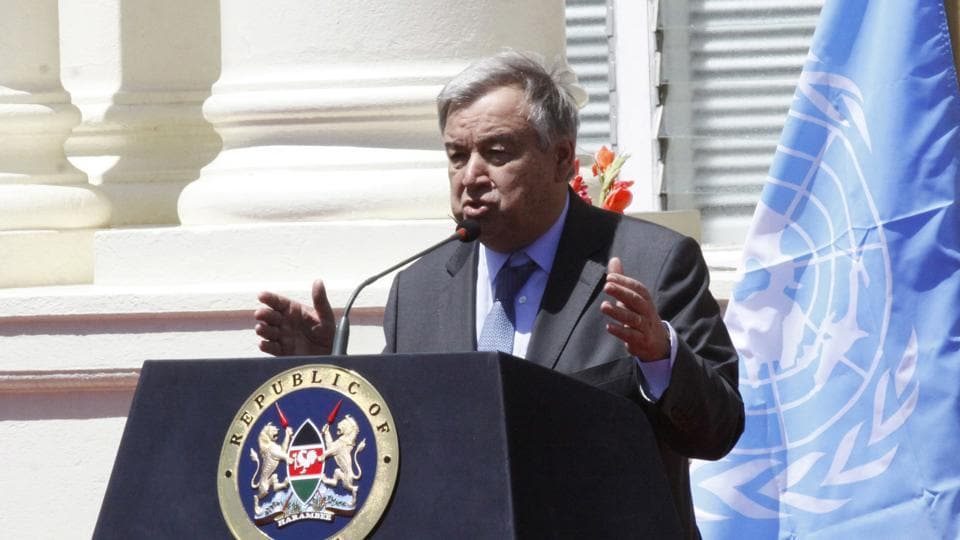 UN secretary general Antonio Guterres speaks during a joint news conference in Nairobi, Kenya on March 8.