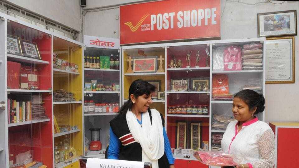 Khadi products on sale in the counter of consumer products at Doranda head post office in Ranchi
